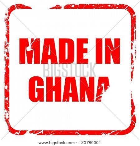 Made in ghana, red rubber stamp with grunge edges
