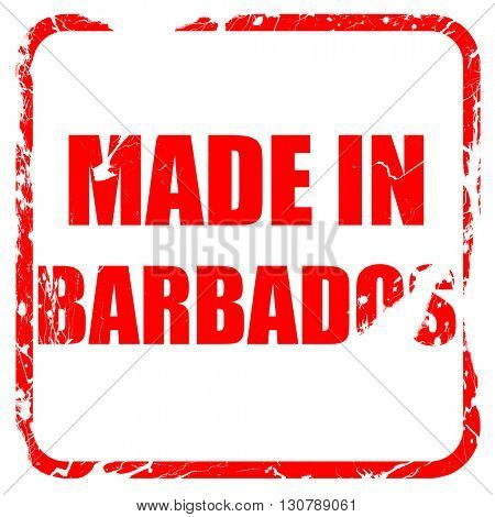 Made in barbados, red rubber stamp with grunge edges