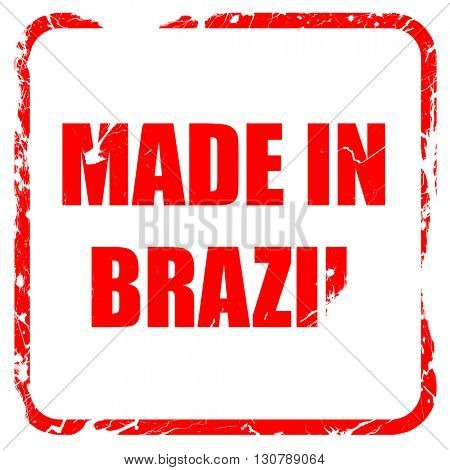 Made in brazil, red rubber stamp with grunge edges