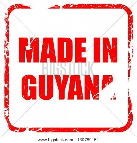 Made in guyana, red rubber stamp with grunge edges