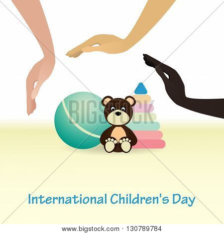 International Childrens Day concept. Protect child. Baby toys. Vector illustration. Background.