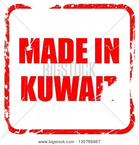 Made in kuwait, red rubber stamp with grunge edges