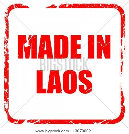 Made in laos, red rubber stamp with grunge edges