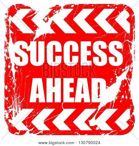 Success sign with smooth lines, red rubber stamp with grunge edg
