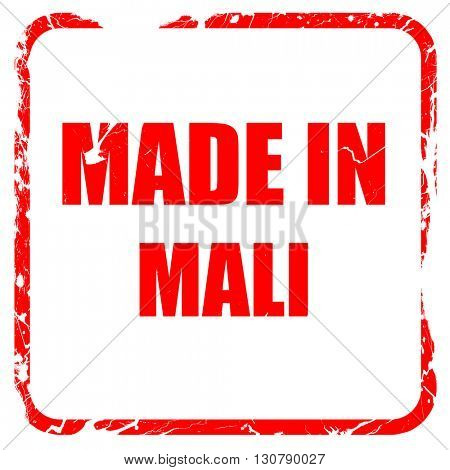 Made in mali, red rubber stamp with grunge edges