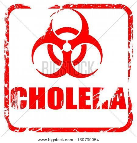 Cholera concept background, red rubber stamp with grunge edges