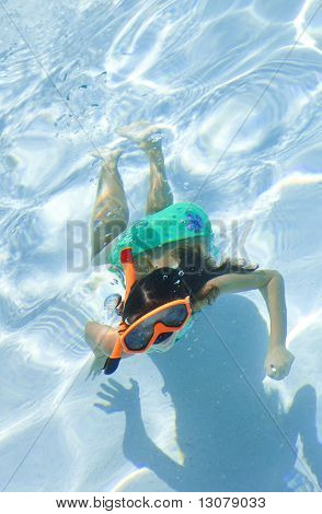 Girl Child Swimming Underwater In Pool With Goggles And Snorkel