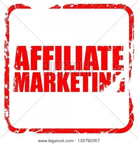affiliate marketing, red rubber stamp with grunge edges