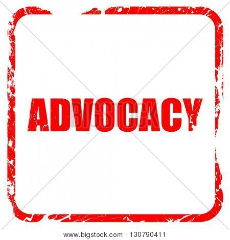 advocacy, red rubber stamp with grunge edges