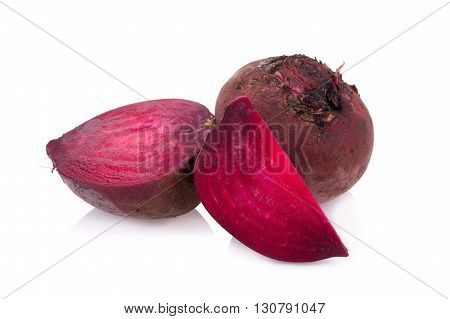 Beetroots vegetarian food isolated on white background.