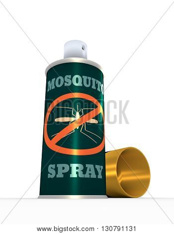Illustration of anti-mosquito spray with cap over white background. 3D rendering. Metallic printing label. Mosquito spray text.