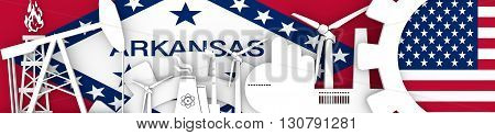Energy and Power icons set. Header banner with Arkansas and USA flags. Sustainable energy generation and heavy industry. 3D rendering