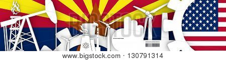 Energy and Power icons set. Header banner with Arizona and USA flags. Sustainable energy generation and heavy industry. 3D rendering