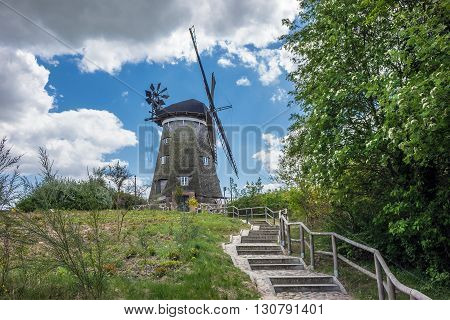 A wind mill on the island Usedom in Benz (Germany).