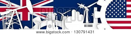 Energy and Power icons set. Header banner with Britain and USA flags. Sustainable energy generation and heavy industry. 3D rendering