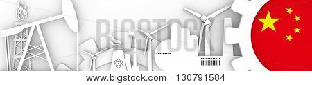 Energy and Power icons set. Header banner with China flag. Sustainable energy generation and heavy industry. 3D rendering