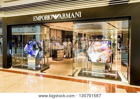 Kuala Lumpur, Malaysia, May 20, 2016: An Emporio Armani Outlet In Klcc, Kuala Lumpur.  Armani Is An