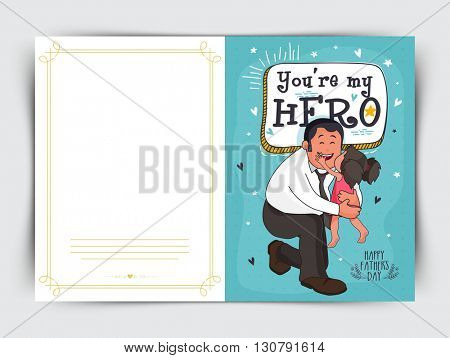 Elegant Greeting Card design with illustration of a cute little daughter kissing her father for Happy Father's Day celebration.