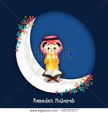 Illustration of a cute Muslim Boy reading Holy Book