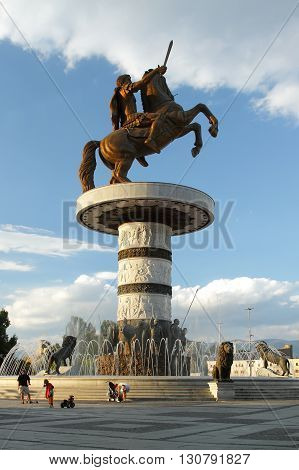 Macedonia Skopje Alexander the Great Monument and fountain at Macedonia Square afternoon light