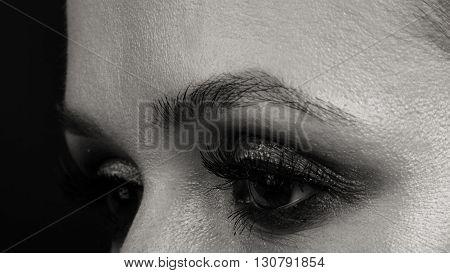 Beautiful, expressive eye make-up girl, dark eyeliner.
