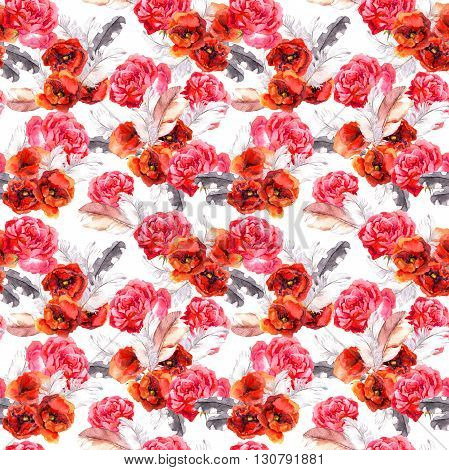 Vintage floral repeating sealess background with poppies and feathers in natural colors