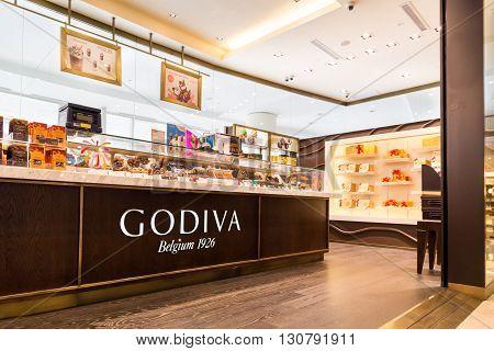 Kuala Lumpur, Malaysia, May 20, 2016: Godiva Chocolate Outlet In Klcc, Kuala Lumpur.  Godiva Chocola