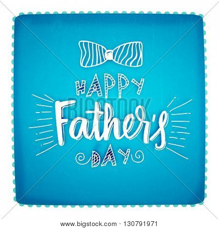 Elegant Greeting Card design with stylish text Happy Father's Day and bow tie on shiny sky blue background.
