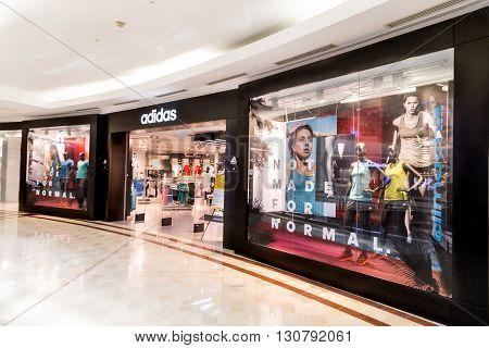 Kuala Lumpur, Malaysia, May 20, 2016: Adidas Outlet At Klcc, Kuala Lumpur.  Adidas, A Multinational