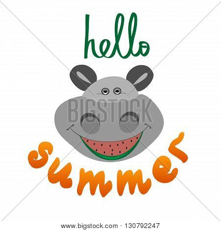 Brush lettering composition. Summer background. Summer poster. Summer background. Summer Design. Hand Drawn lettering vector. Hello Summer with hippo vector illustration isolated.