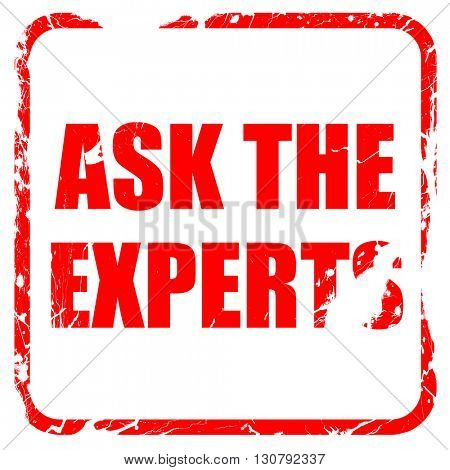 ask the experts, red rubber stamp with grunge edges