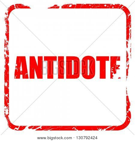 antidote, red rubber stamp with grunge edges