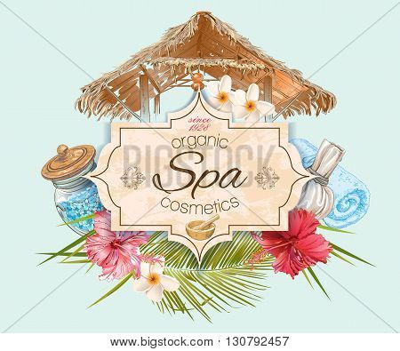 Spa treatment banner with lotus, hibiscus and bungalow roof. Design for cosmetics, store, spa and beauty salon, organic health care products. Vector illustration.