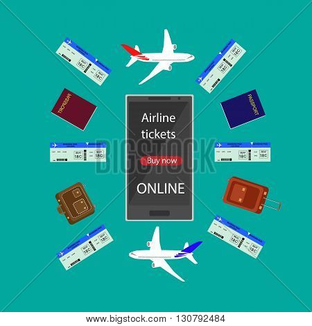 Internet airline. Booking flight ticket online via internet smart phone infographic. Buying or booking Airline tickets.