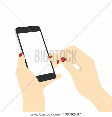 Phone In Hand. Flat Design Vector Illustration Of A Woman's Hands Surfing Internet With Her Smart Phone.