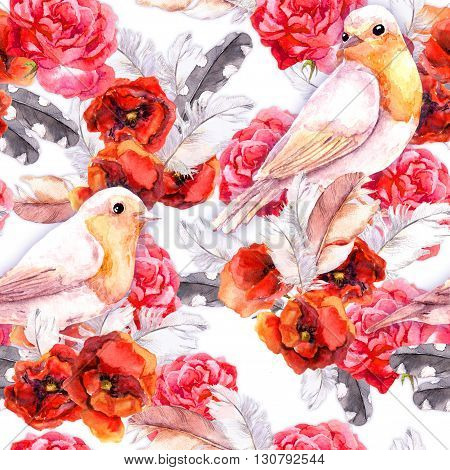 Vintage floral repeating sealess background with poppies, feathers and birds in natural colors