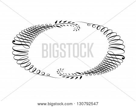 Fine line decorative frame isolated on light background