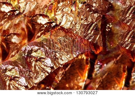 shiny metal fibre structure, abstract background. Brown color