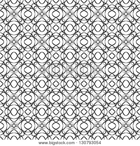 Vector seamless pattern. Modern stylish texture. Repeating black geometric tiles with lines elements
