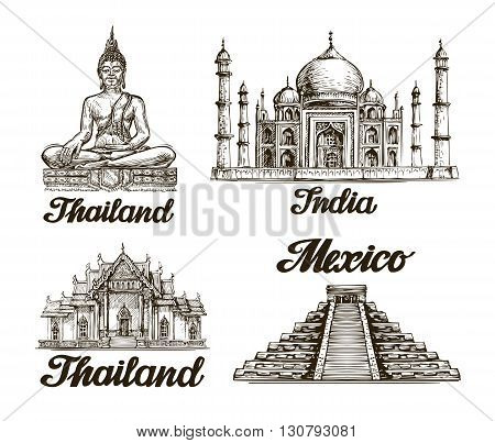 Travel. Hand drawn sketch of India, Thailand, Mexico. Vector illustration