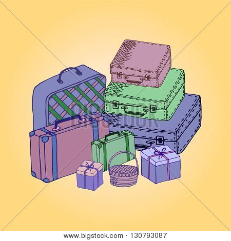 Suitcases stacked in a flat style. Suitcases vector illustration. Suitcases isolated on a colored background.