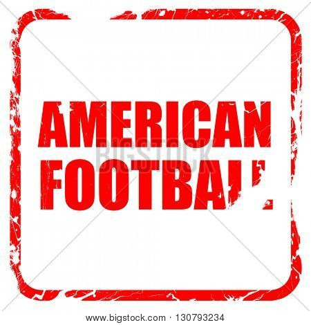american football, red rubber stamp with grunge edges
