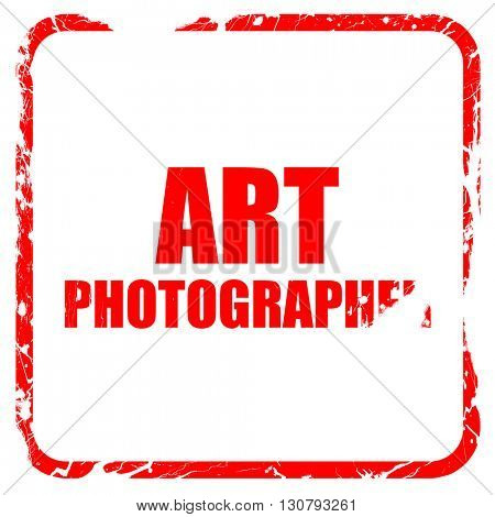 art photographer, red rubber stamp with grunge edges