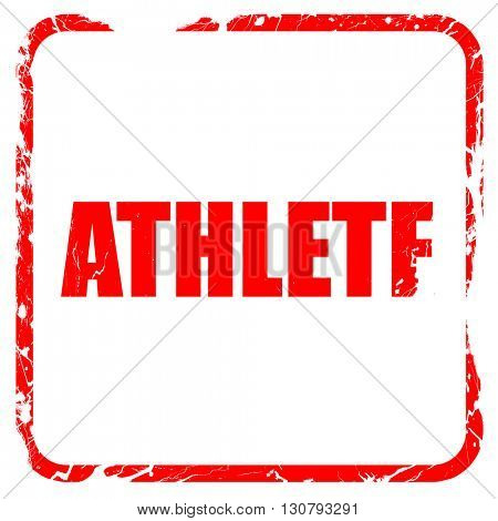 athlete, red rubber stamp with grunge edges
