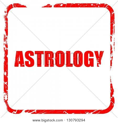 astrology, red rubber stamp with grunge edges