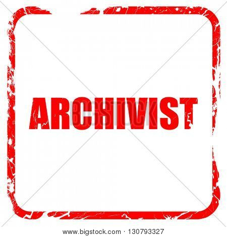 archivist, red rubber stamp with grunge edges