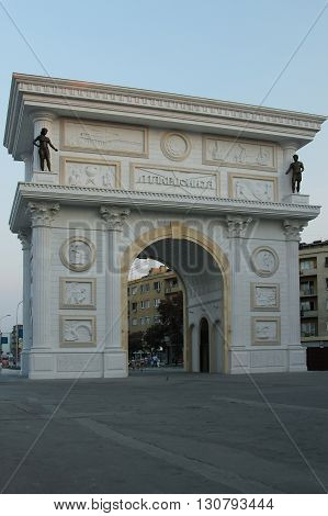 Macedonia Skopje Triumphal Arch seen at dusk