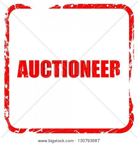 auctioneer, red rubber stamp with grunge edges