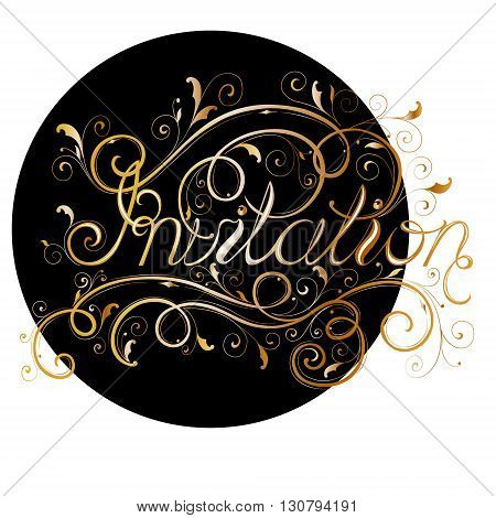 inscription invitation with monograms floral ornaments patterns gold letters golden patterns.
