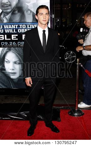 Shia LaBeouf at the Los Angeles premiere of 'Eagle Eye' held at the Grauman's Chinese Theater in Hollywood, USA on September 16, 2008.